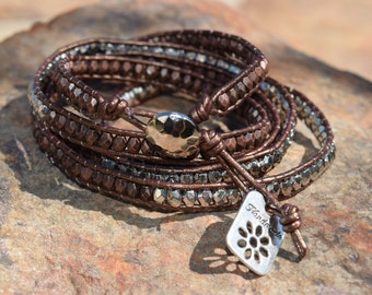 """Five Wrap Beaded Bracelet with Silver Button and """"Handmade"""" Charm"""