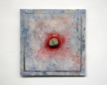 Abstract art, abstract painting, stone, painted stone, Nature painting, Collage, gift for men, wire