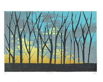 Colwick  – Sunrise through trees, Linocut, Original Print