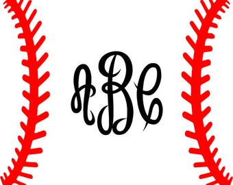 Baseball Laces SVG, Baseball Monogram Frame, SVG Silhouette Cricut file