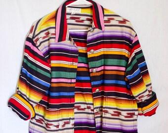 Vintage Rainbow Southwestern Print Jacket (M)