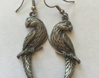 Vintage Pewter Parrot Dangle Pierced Earrings Signed JJ