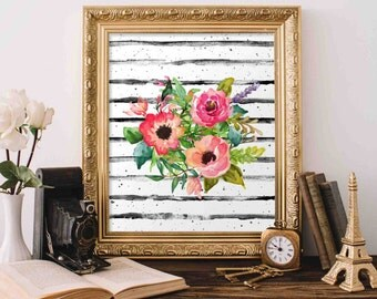 Floral Printable Art, Floral Bouquet wall art, Nursery decor, home decor, floral poster art, office decor Watercolor floral Nursery Print
