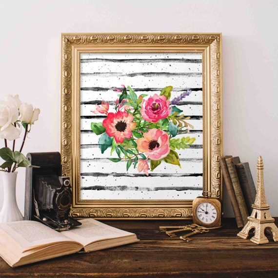 Floral Printable Art Floral Bouquet Wall Art Nursery Decor