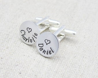 Personalized cuff links, name cufflinks, heart cufflinks, gift for him, hand stamped, mens personalized gift, anniversary gift, wedding gift