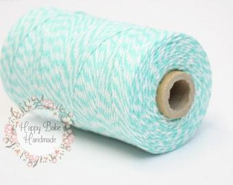 Aqua Baker's Twine, 4 Ply, 15 Yards, Aqua Baker's Twine, Natural Cotton Twine, Cotton Baker's Twine, White Twine, Teal Wedding, Gift Wrap