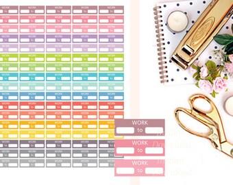 Work Printable Stickers, Work Schedule Stickers, Working Stickers, Printable Planner Stickers, EC Work Stickers, Pastel MAMBI Work Stickers