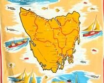 Tasmania Pure Linen Souvenir Tea Towel - 60s Vintage Tasmanian Map Tourist Tea Towel - Fishing Boating Empress of Australia