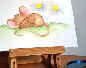 Cute Mouse Original Watercolour Painting, Nursery Room Art, Woodland Creature, Original Watercolour Painting, Mouse Illustration, Mouse