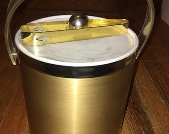 Retro Gold and Silver Ice Bucket with Lucite Lid