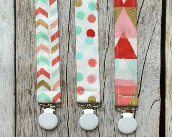 Three Universal Pacifier Clips Gift Set - Baby Girl Pacifier Clips - Mint, Coral, and Gold - Pacifier Clip, Paci Clip, Binky Clip- Baby Gift