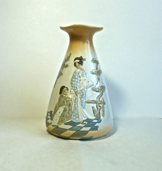 PORCEVAL PORCELAIN VASE ~ Made in Spain ~ Geisha Girl Motif ~ Raised Relief ~ Home Decor ~ Table Decor ~  Table Vase
