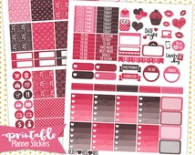 Hearts and Cupcakes | PRINTABLE Planner Stickers | Pdf, Jpg, Silhouette Studio V3 Format | ECLP Vertical Planner Stickers