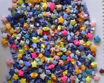 500 Assorted Colors origami stars, upcycled , recycled origami stars