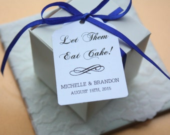 "Wedding Favour Tag, ""Let Them Eat Cake"" Wedding Favour Tag, Set of 20 Custom wedding favour tags, personalized white paper party tag"