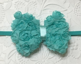 Aqua Shabby Rose Flower Bow on Aqua Skinny Elastic Headband (HB-17), Shabby Rose Headband, Aqua Headband, Baby Headband, Girls Headband