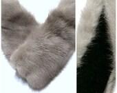 Vintage 1950s Gray Fur Collar | Mad Men 50s Soft Grey Mink Fur Classic Hollywood Winter Silver Fox Fur | Madmen Wedding Cocktail