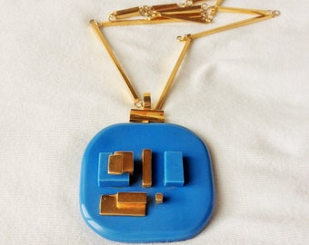 Mind cube, geometric, gold and blue necklace, vintage but nine, french jewelry, accessories fashionista