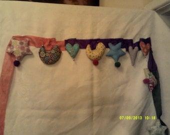 BOHO, HIPPIE party garland, bunting ,padded fabric birds,stars,cloudsand hearts on silk ribbon.