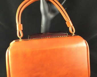 Vintage Art Deco style orange/brown handbag