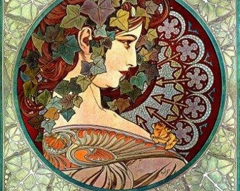 Ivy by Alphonse Mucha Art Nouveau poster digital vintage image instant download Supplies for scrapbooking greeting cards Ihappywhenyouhappy