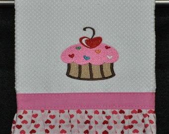 "Embroidered Dish Towel ""Love & Sprinkles"" Cupcake"