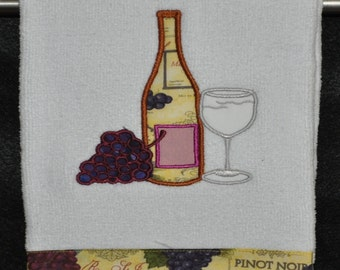 "Embroidered Dish Towel ""Applique Wine Bottle & Grapes"""