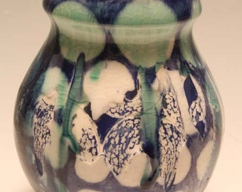 Blue Polka Dot Lidded Jar