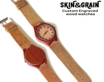 Red Sandalwood Watch, Engraved Wood Watch, Groomsman Watch, Wooden Watch, Wooden Gift Watch, Wooden Watches, Engraved Watch Men, Wood Watch