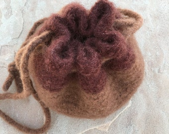Mini drawstring bag felted wristlet felted bag felted purse wool yarn brown felted drawstring bag