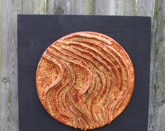 Ceramic White Clay Disk on Wood Panel 3