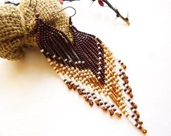 fringe earrings Statement earrings coffee Earrings Beaded Earrings tribal style Native Style Holiday gift Handmade Bohemian earrings