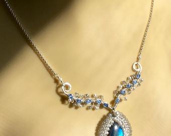 blue flash labradorite, pearl, argentium sterling, necklace, pendant