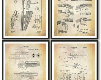 Vintage Rifle Patent Art Print - Winchester Browning Patent Print - Henry Rifle Patent Print - Mauser Patent Print - Garand Patent Print