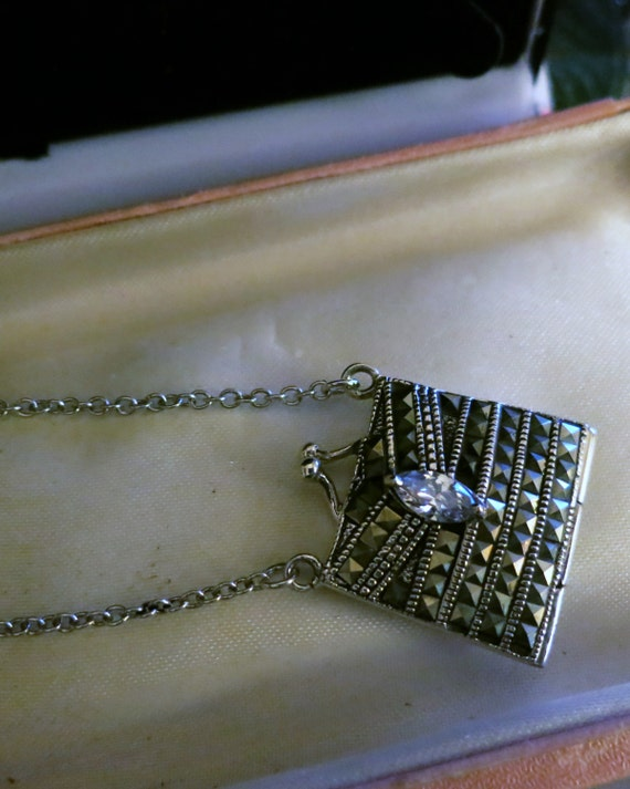 Vintage sterling silver marcasite rhinestone pendant locket necklace