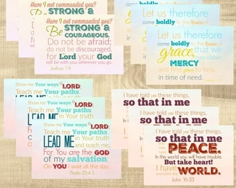 PRINTED Scripture postcards, Bible Verse - Set of 12