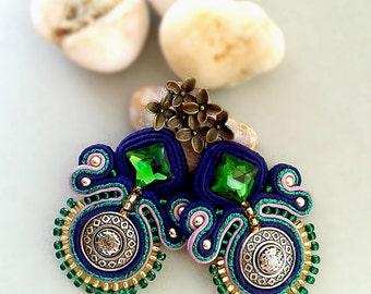 Soutache Earrings dark blue, green, lavender, silver colors. medium Soutache Earrings.