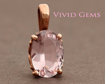 Morganite Rose Gold Pendant, Oval Morganite Solitaire Pendant, Natural light pink Morganite, 14k Rose Gold,