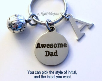 Soccer Dad Keychain, Awesome Dad Key Chain, Gift for Father's Day, Coach Football Keyring, Initial Letter custom sports from kids children