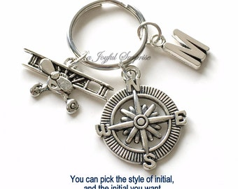 Airplane Keychain, Pilot's Key Chain Compass Keyring Silver Propeller Plane Birthday present Christmas Gift aircraft charm aviation initial