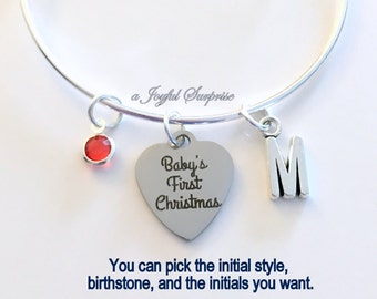 Gift for New Mom Bracelet, 2017 Baby's First Christmas Mother Jewelry Charm Bangle Silver initial Birthstone Present Keepsake letter women