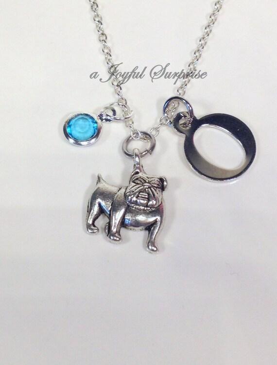 bulldog necklace silver bull charm by