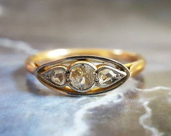 Diamond Engagement Ring | Antique Engagement Ring | Edwardian Engagement Ring | Three Stone Engagement Ring | Vintage Engagement Ring