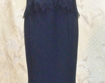 1980s 2-Piece Black Evening Gown/Size Large/FREE SHIPPING