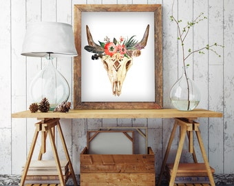 Bull Skull Wall Decor cow skull with flower digital print floral animal skull boho