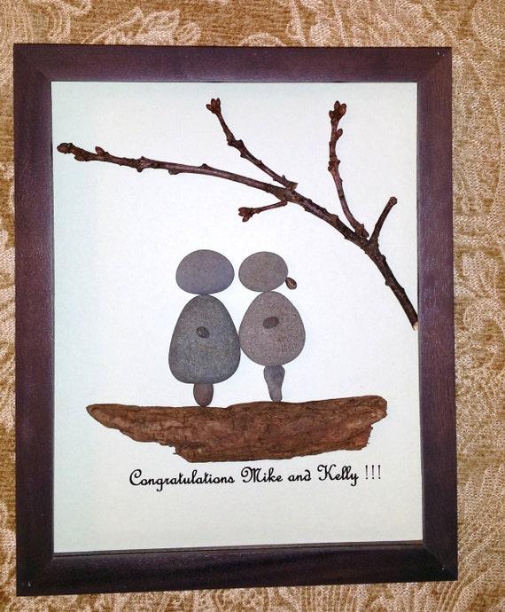 Stone Art Wedding Gift : Pebble engagementwedding gift, Stone art, beach stone art, Loving ...
