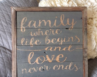 reclaimed wood wall decor: family, where life begins and love never ends