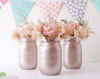Valentines Day Gift for Her Home Decor Blush Rose Gold Painted Mason Jars Vase Centerpiece