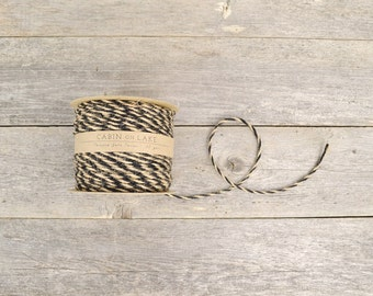 Twisted Jute Twine in Natural & Black / Bi-Color Cord / Rustic Wedding Twine - 50 yds