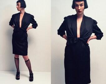 Vtg 80s Silk Black Dress